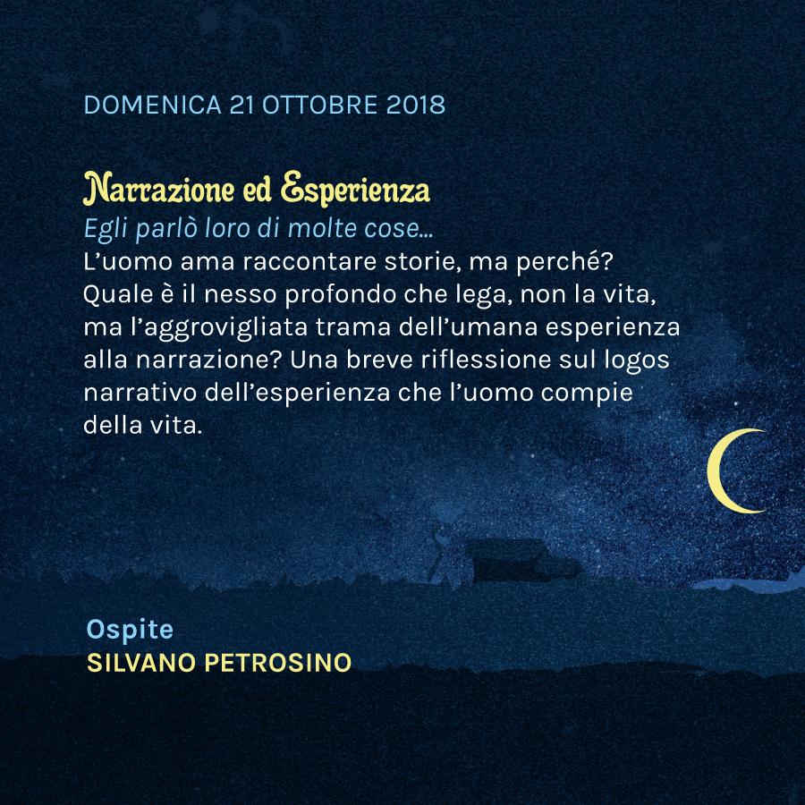 Narrazione ed Esperienza – DOMENICA 21 OTTOBRE 2018