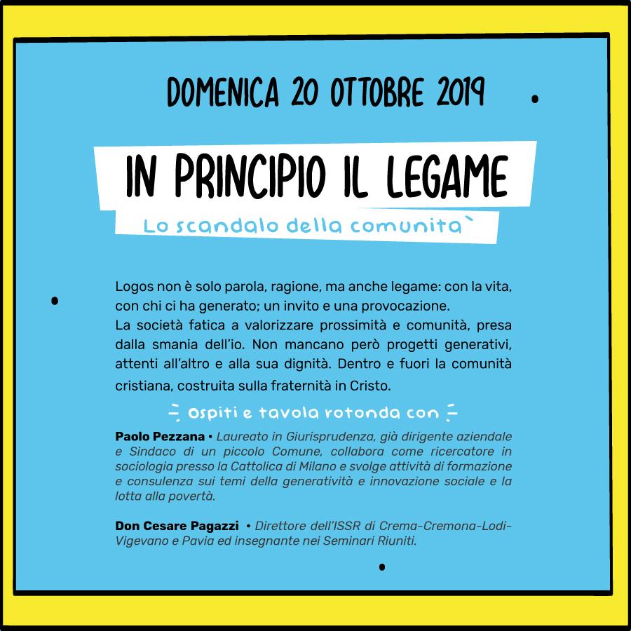 IN PRINCIPIO IL LEGAME – domenica 20 ottobre 2019