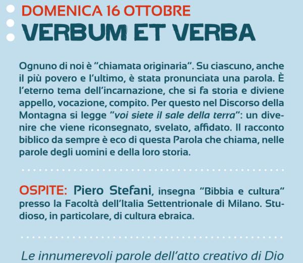 DOMENICA 16 OTTOBRE – Verbum et verba