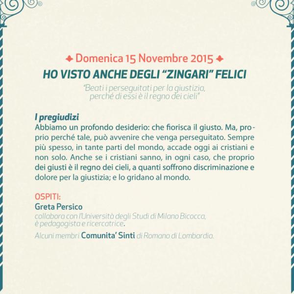 """Domenica 15 Novembre 2015 – HO VISTO ANCHE DEGLI """"ZINGARI"""" FELICI"""